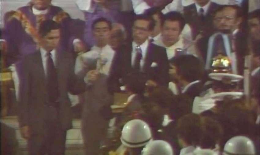Osvaldo Hurtado en el funeral de Jaime Roldós, 1981