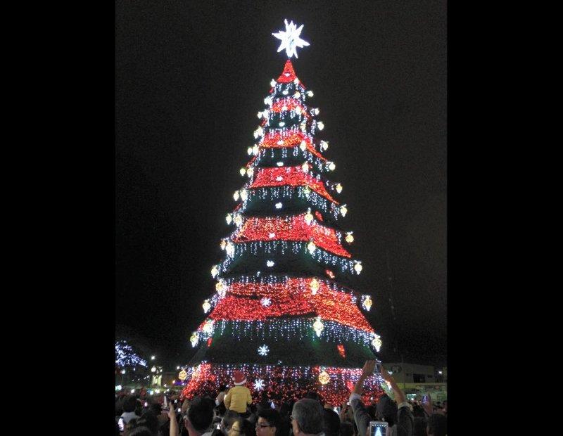 f134df4e9ca83 El árbol de Navidad alcanza los 30 metros de altura y tiene 13 capas  multicolores. Foto  Alcaldía de Machala
