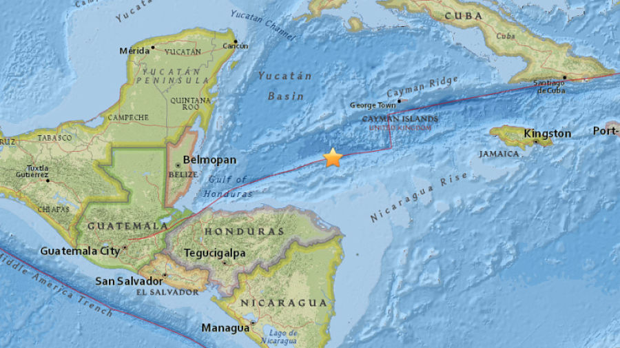 Sismo de magnitud 7,6 grados frente a las costas de Honduras