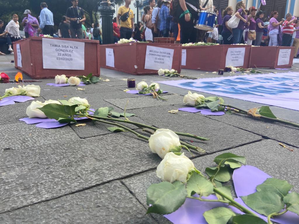 En la marcha por el Día Internacional de la Mujer hubo ataúdes representado a los casos de femicidio.