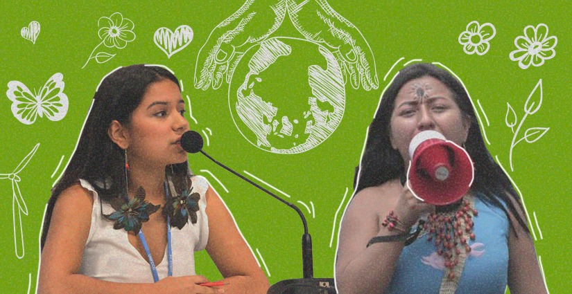 Voceras por los derechos indígenas y contra el cambio climático.