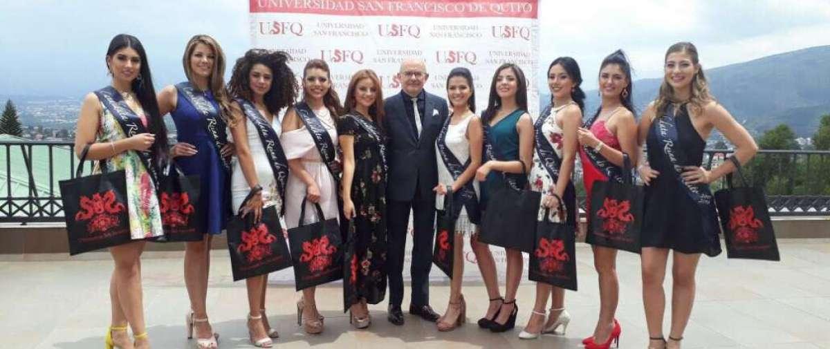 Candidatas a Reina de Quito recorrieron la U. San Francisco.