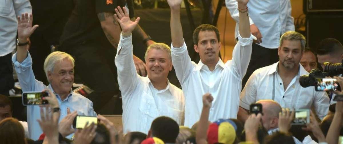 CÚCUTA, Venezuela.- El gobernante interino de Venezuela se encontró con los presidentes Duque y Piñera. Foto: AFP