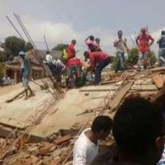 Emergencia en Cartagena de Indias tras el desplome del edificio. Hay al menos 3 muertos. Foto: Tomada de cadena Caracol