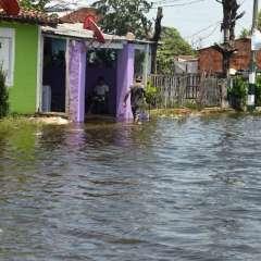 El rio Paraguay actualmente tiene 5,7 metros de altura, según autoridades. Foto: AFP