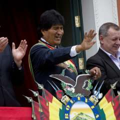 Evo Morales luego de que entregara su reporte anual al Congreso. Foto: AP