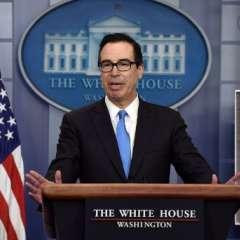 El secretario del Tesoro, Mnuchin, durante una sesión en la Casa Blanca. Foto: AFP