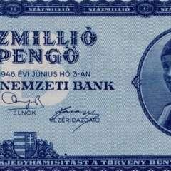 Este es el billete con mayor denominación en la historia: 100 trillones de pengos húngaros. (Foto cortesía de tomchao.com).