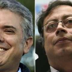 Los favoritos para el balotaje. El derechista Iván Duque y Gustavo Petro, exguerrillero. Foto: AFP