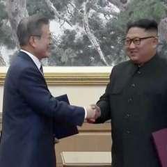 """Los mandatarios Moon Jae-in y Kim Jong-un firmaron un acuerdo al que describieron como """"un salto adelante""""."""