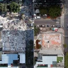 Del lado izquierdo, rescatistas buscan sobrevivientes tras terremoto; a la derecha, como se ve la zona un año después. Foto: AFP
