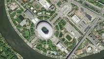 En el estadio Luzhniki se jugarán el partido inaugural, una semifinal y la final. Foto: HO / AIRBUS DEFENCE AND SPACE / AFP