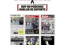 La portada de los periódicos deportivos hicieron referencia a los ataques terroristas.