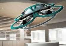 El dron vigilará con una cámara si hay alguien dentro de la oficina.