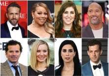 Ryan Reynolds, Mariah Carey, Mayim Bialik, Dwayne Johnson, John Leguizamo, Kristen Bell, Sarah Silverman y Mark Ronson. Foto: AP