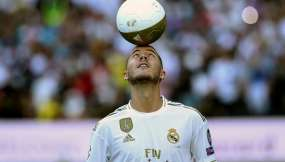 Eden Hazard en su presentación oficial del Real Madrid.