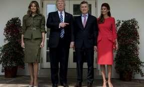 Macri, mandatario de Argentina, visitó oficialmente al Presidente de EE.UU. y fue acompañado de su esposa. Foto: AFP