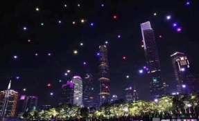 1.180 drones iluminaron el cielo de la ciudad china de Guangzhou.   Foto: RT