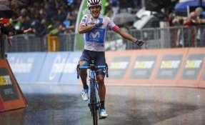 El ciclista carchense se ubicó cuarto en la clasificación general del Giro de Italia. Foto: AFP