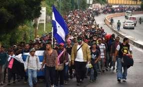 Caravana de migrantes hondureños Foto: AFP
