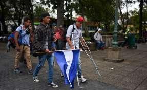 Migrantes hondureños Foto: AFP