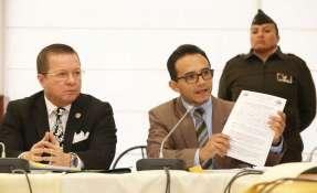 QUITO, Ecuador.- Lenín Rodríguez y legislador Aleaga comparecieron ante la comisión que investiga a Galarza. Foto: Asamblea