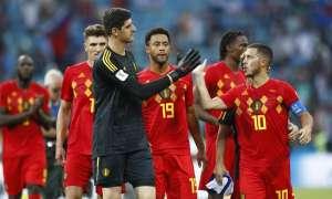 Hazard y Courtois con la camiseta de Bélgica.
