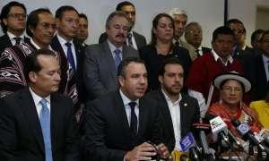 QUITO, Ecuador.- Al pedido de CREO, se sumaron asambleístas de las bancadas PSC, SUMA, ID y Fuerza Ecuador. Foto: API