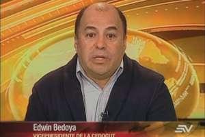 ECUADOR.- Edwin Bedoya durante su entrevista en Contacto Directo. Foto: Ecuavisa