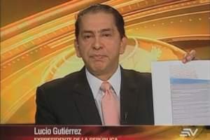 ECUADOR.- Lucio Gutiérrez durante su entrevista en Contacto Directo. Foto: Ecuavisa