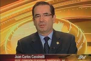 ECUADOR.- Juan Carlos Cassinelli durante su entrevista en Contacto Directo. Foto: Ecuavisa