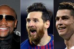 Al boxeador le siguen los futbolistas Lionel Messi y Cristiano Ronaldo. Foto: AFP