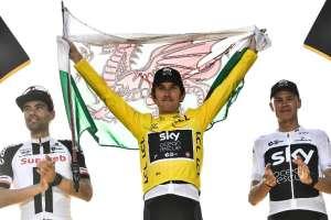 El ciclista galés terminó con 1 minuto y 51 segundos de ventaja sobre Tom Dumoulin. Foto: Jeff PACHOUD / AFP