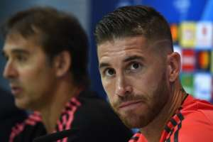 MADRID, España.- Sergio Ramos durante una conferencia de prensa de cara a su duelo con Roma por la Champions League. Foto: AFP