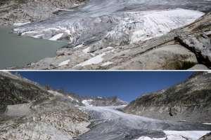 GLETSCH, SUIZA.- El deshielo del glaciar Rhone. Arriba, el terreno en julio de 2015; abajo, en agosto de 2018. Foto: AFP.
