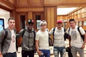 Manuel Balda, Sebastián Méndez, Edison Vega, Jefferson Intriago y Christian Cruz se sumaron a la concentración. Foto: FEF