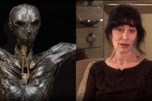 """La escultura """"Adán"""" y su creadora Gillian Gensen."""