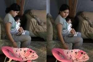 Graba a su pareja mientras cuida a su bebé y capta impensado detalle.