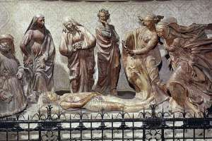 Una confraternidad encargó la obra a Niccolò dell'Arca hacia el 1463.