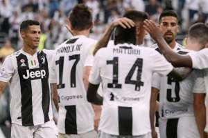 Jugadores de la Juventus, celebrando su octavo título.