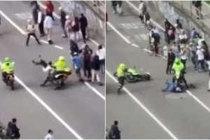 Policías atropellan a skaters en Colombia. Foto: Captura de video