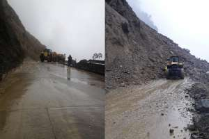 2 mil personas aisladas por deslaves en vía Riobamba - Macas. Foto: Obras Públicas Ecuador
