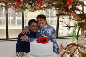 Michelle Avilés y Alexandra Chávez contrajeron matrimonio este 18 de julio. Foto: API