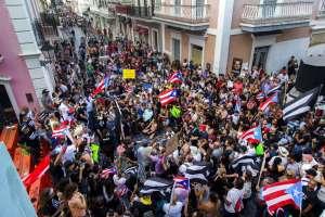 Protesta contra el gobernador de Puerto Rico, Ricardo Rosselló, en San Juan, Puerto Rico. Foto: AP