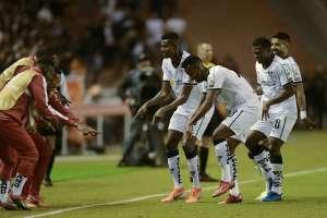 El festejo del primer gol de Liga. Foto: Twitter Conmebol Libertadores.