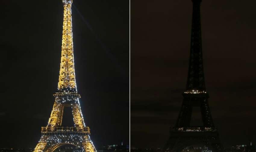 El monumento más emblemático de Francia, la Torre Eiffel, también se apagó por la hora del planeta. AFP