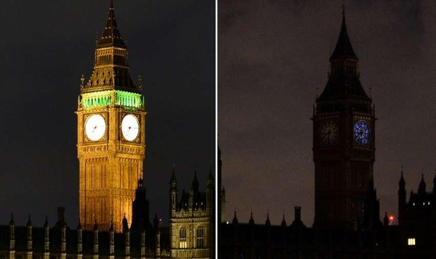 Un cuadro combinado tomada el 28 de marzo de 2015, el centro de Londres muestra las Casas del Parlamento, sumergidas en las tinieblas de la campaña ambiental La Hora del Planeta . AFP