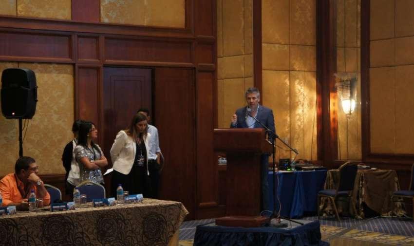 Durante la charla, Enex y su integración con la AIL. Foto: Ecuavisa