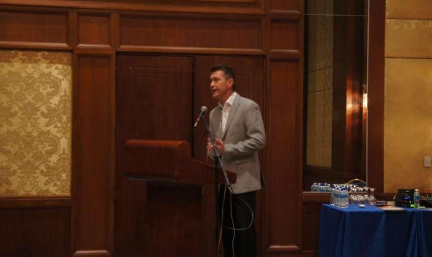 Pedro Jiménez durante su intervención en la charla de la Alianza Informativa. Foto: Ecuavisa