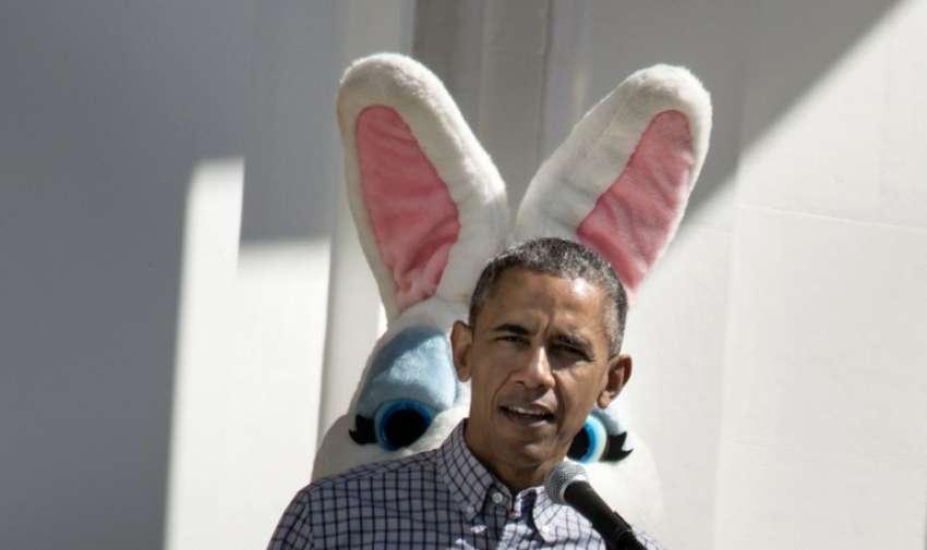 El presidente estadounidense, Barack Obama, durante la Pascua en el Jardín Sur de la Casa Blanca, 06 de abril 2015 en Washington , DC . AFP
